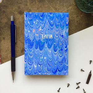 Personalised Hand Marbled Nonpareil Journal - gifts for friends