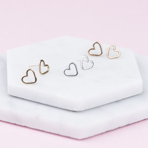 Handmade Solid Gold Open Heart Stud Earrings - gold