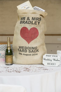 Personalised Hessian Wedding Card Sack Heart - room decorations
