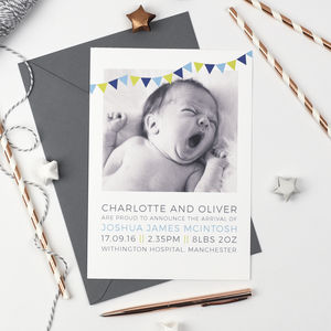 Personalised Photo Birth Announcements - christening cards