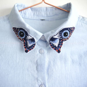 Embroidered Butterfly Collar Shirt - gifts for her