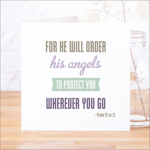 'Angels To Protect' Contemporary Bible Verse Card