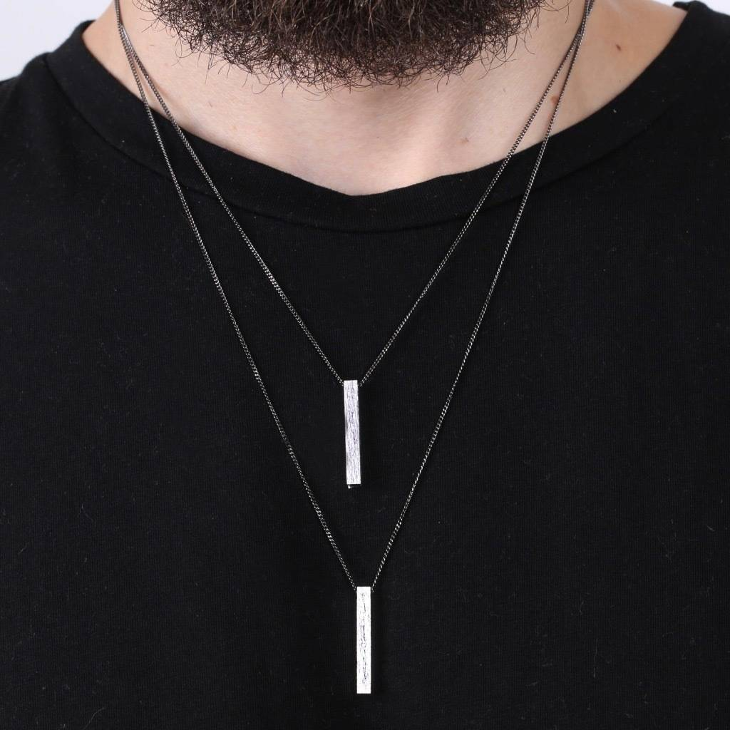 Men S Personalised Brushed Bar Necklace By Lisa Angel