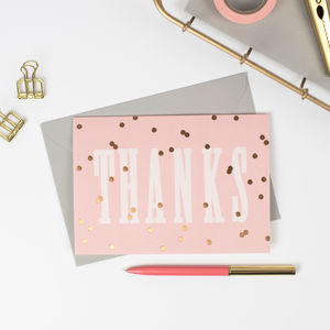 'Thanks' Gold Polka Notecard Set - shop by category