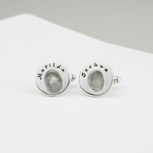 Personalised Round Fingerprint Cufflinks - men's jewellery