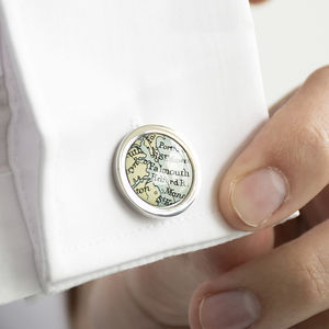 Personalised Circle Map Cufflinks - gifts for grooms