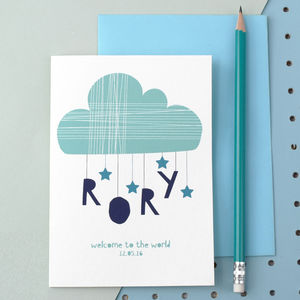Personalised Cloud And Stars New Born Card Blue