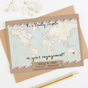 Personalised World Map Engagement Card - engagement cards