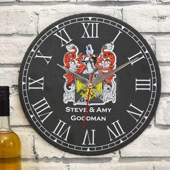 Personalised Slate Clock With Your Family Coat Of Arms