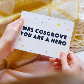 Personalised Hero Teacher Thank You Card