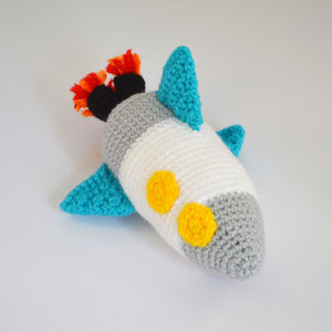 Crocheted Amigurumi Toy Rocket