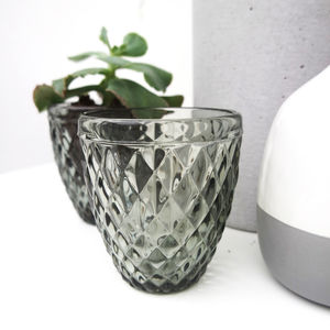 Grey Glass Tealight Holder - room decorations