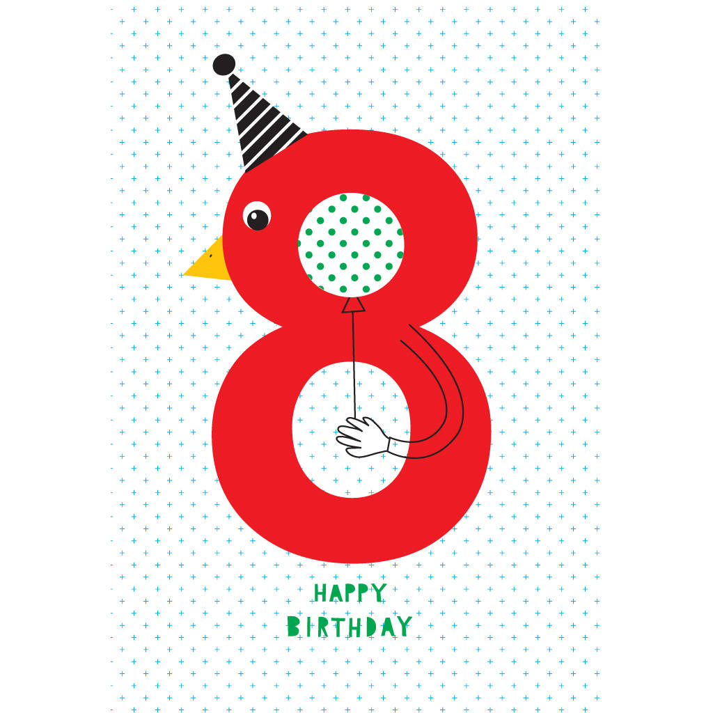 8th Birthday Card By Karin Akesson Design