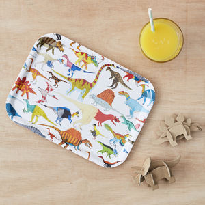 Scandinavian Birchwood Breakfast Tray: Dinosaurs