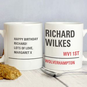 Street Sign Personalised Mug - gifts for her