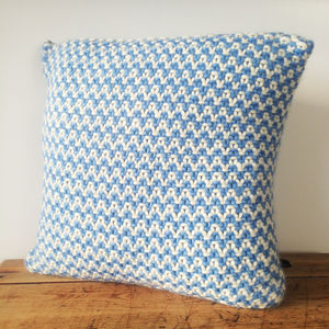 Chunky Knit Cushion Blue And Cream - bedroom