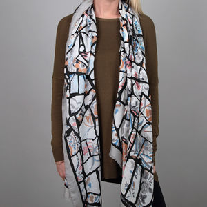 Abstract Branch And Floral Scarf