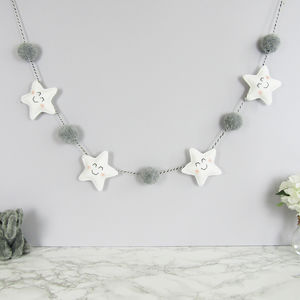 Star Garland With Coloured Pom Poms - decoration