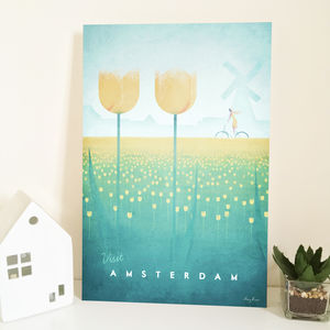 'Visit Amsterdam' Travel Poster - shop by price
