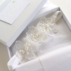 Brigitte Flower Band Wedding Garter