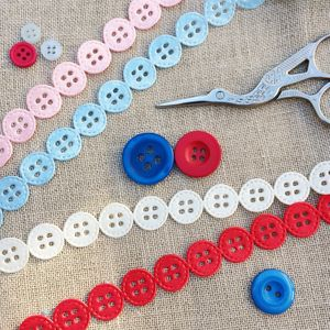 Button , Satin Ribbon Trim