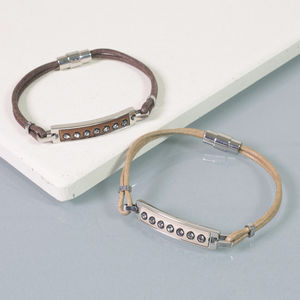 Personalised Swarovski Leather Ladies Bracelet - bracelets & bangles