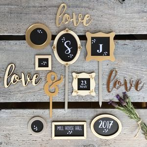 Personalised Chalkboard Picture Frame Wedding Toppers