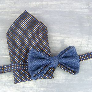 Yorkshire Tweed And Silk Bow Tie And Pocket Square - ties & tie clips
