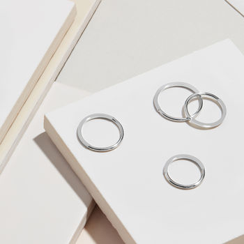 Sterling Silver 50 Square / 50 Round Stacking Ring