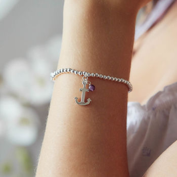 Beaded Anchor And Birthstone Charm Bracelet