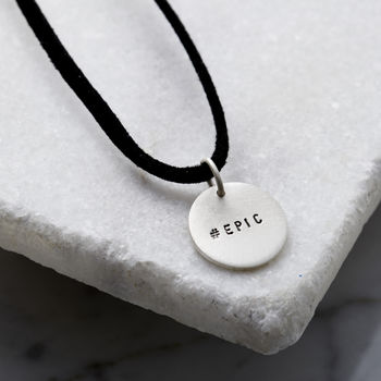 Personalised Men's Silver Disc Necklace On Leather Cord