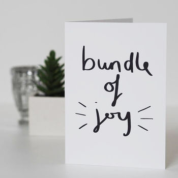 Bundle Of Joy Hand Lettered New Baby Card