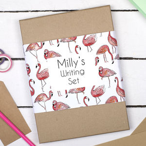 Personalised Flamingo Writing Set