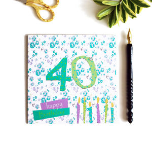 40th Birthday Card With Crystal Gem
