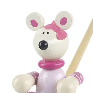 Wooden Push Or Pull Along Pink Mouse Toy