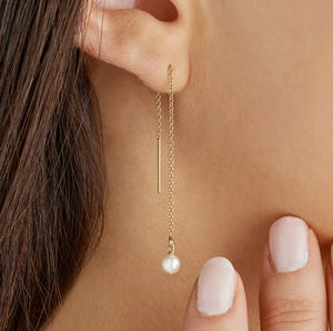 Gold Or Silver Ear Threader Pearl Drop Earrings - earrings