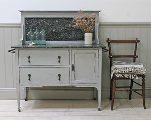 Distressed Vintage Marble Top Washstand - furniture