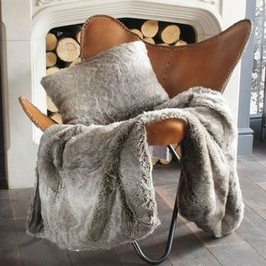 Grey Wolf Faux Fur Throw Or Cushion - blankets & throws