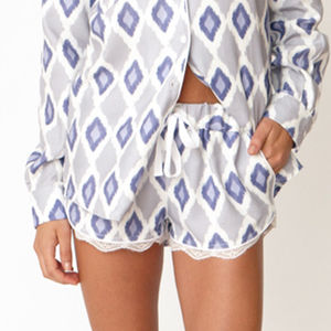 Ikat Print Cotton Lace Shorts - lingerie & nightwear