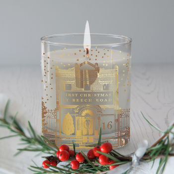 Personalised 'First Christmas At' House Candle