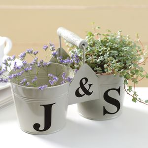 Personalised Double Bucket In French Grey - outdoor decorations