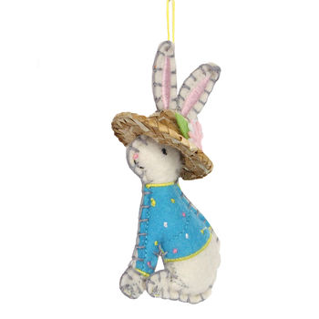 Embroidered Felt Easter Bunny Decoration