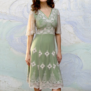 5c471a57aa Thirties Style Dress In Ivory And Green Lace - women s clothing