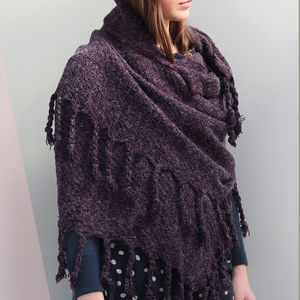 Cable Knit Shawl With Tassles