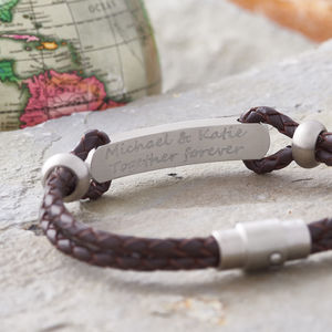 Valentines Day Personalised Leather ID Bracelet - bracelets