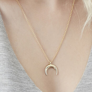 Drop Crescent Moon Necklace In Silver, Gold Or Rose