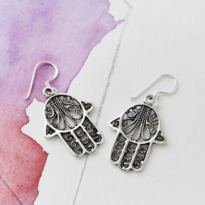 Hamsa Silver Drop Earrings