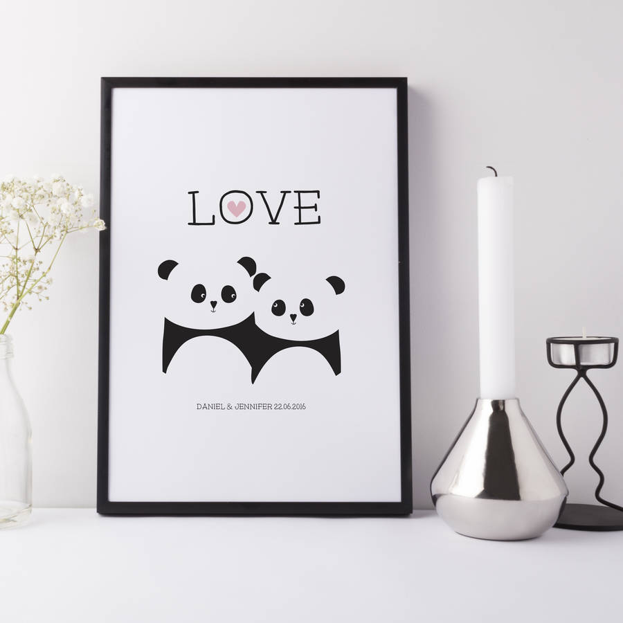 Panda Love Print Wedding Anniversary Gift