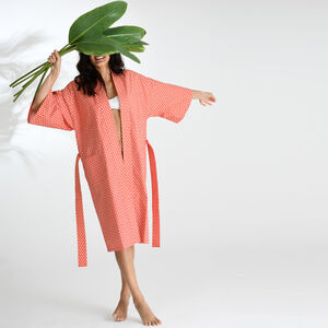 Cotton Wrap Kimono In Small Orange And White Print