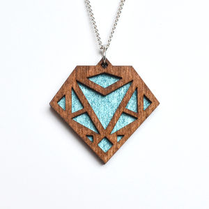 Contemporary Geometric Diamond Pendant Necklace D2 - necklaces & pendants